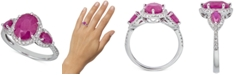Macy's Certified Ruby (2-1/2 ct. t.w.) & Diamond (1/4 ct. t.w.) Statement Ring in 14k White Gold (Also available in Sapphire)