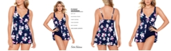 Swim Solutions Status Printed Flyaway Tummy Control Swimdress, Created for Macy's