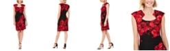 Connected Rose-Print Sheath Dress