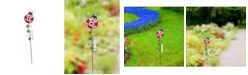 Creative Motion Painted Ladybug Metal Garden Stakes with Rain Gauge