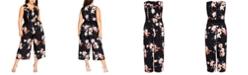 City Chic Trendy Plus Size Sencha Belted Floral-Print Jumpsuit