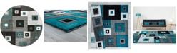 "Asbury Looms Bristol Cicero 2050 10269 88R Turquoise 7'10"" Round Rug"
