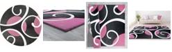 "Asbury Looms Bristol Riley 2050 10386 88R Pink 7'10"" Round Rug"