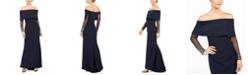 Vince Camuto Off-The-Shoulder Long-Sleeve Gown