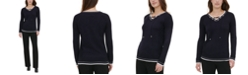 Calvin Klein Lace-Up V-Neck Sweater