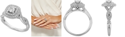 Macy's Diamond Double Halo Twist Engagement Ring (5/8 ct. t.w.) in 14k White Gold