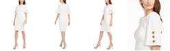 Calvin Klein Button-Sleeve Sheath Dress