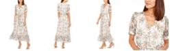 Calvin Klein Puff-Sleeve Chiffon Maxi Dress