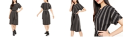 Alfani Striped Belted-Waist Dress, Created for Macy's