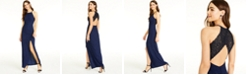 Speechless Juniors' Cutout Glitter Lace-Back Gown