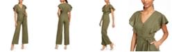 Calvin Klein Petite Ruffle-Shoulder Jumpsuit