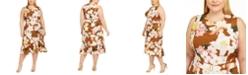 Calvin Klein Plus Size Belted Ruffled Midi Dress