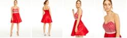 Crystal Doll Juniors' Rhinestone Fit & Flare Dress
