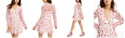 B Darlin Juniors' Crochet-Trim Printed Chiffon Dress