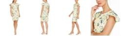 Calvin Klein Ruffled Cap-Sleeve Printed Sheath Dress