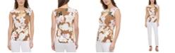 Calvin Klein Printed Wrap-Detail Sleeveless Top