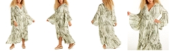 Band of Gypsies Trendy Plus Size Tie-Dyed Wrap Maxi Dress
