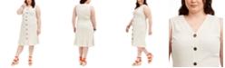 Monteau Trendy Plus Size Button-Down Flounce Midi Dress