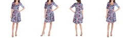 24seven Comfort Apparel Paisley Fit and Flare Dress