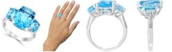 LALI Jewels Swiss Blue Topaz (10-1/6 ct. t.w.) & Diamond (1/10 ct. t.w.) in 14k White Gold