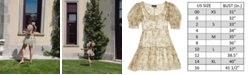 Danielle Bernstein Printed Organza Puff-Sleeve Mini Dress, Created for Macy's