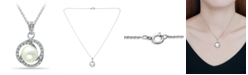 """Macy's Imitation Pearl with Cubic Zirconia Crystal Swirl Halo Pendant in Silver Plate 18"""""""