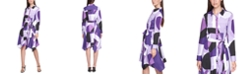 Calvin Klein Plus Size Printed Handkerchief-Hem Shirtdress