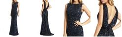 MAC DUGGAL Sequin Draped-Back Dress