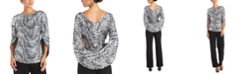 R & M Richards Drape-Back Embellished Metallic Top