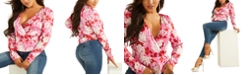 GUESS Elizabeth Floral-Print Surplice Top