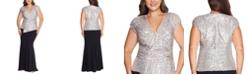 XSCAPE Plus Size Sequin-Top Scuba Crepe Gown
