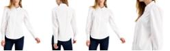 Bar III Poplin Puff-Sleeve Blouse, Created for Macy's