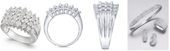 Macy's Diamond Multi-Row Ring (1/2 ct. t.w.) in Sterling Silver or 14K Gold Over Sterling Silver