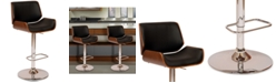Armen Living London Swivel Barstool In Cream PU/ Walnut Veneer and Chrome Base