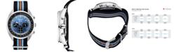 Seiko Men's Solar Chronograph Recraft Series Black, Orange & Blue Nylon Strap Watch 43.5mm