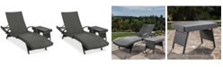 Noble House Jordon Outdoor Chaise Lounge & Accent Table Set