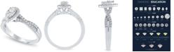 Macy's Diamond Pear Halo Ring (1/2 ct. t.w.) in 14k White Gold