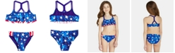 Breaking Waves Big Girls 2-Pc. Star-Print & Stripes Flounce Bikini
