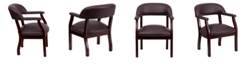 Flash Furniture Burgundy Top Grain Leather Conference Chair With Accent Nail Trim