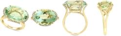 EFFY Collection EFFY® Prasiolite(12-7/8 ct. t.w.) & Diamond (1/8 ct. t.w.) Statement Ring in 14k Gold