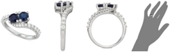 Macy's Sapphire (1 ct. t.w.) & Diamond (3/8 ct. t.w.) Two Stone Ring in 14k White Gold