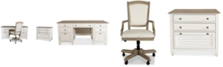 Furniture York Two-Tone Home Office, 3-Pc. Furniture Set (Two-Tone Credenza Desk, Upholstered Desk Chair, Lateral File Cabinet)