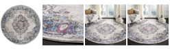 Safavieh Bristol Light Gray and Blue 7' x 7' Round Area Rug
