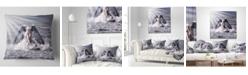"""Design Art Designart 'Woman With Dark Angel Wings' Modern Beach Throw Pillow - 16"""" x 16"""""""