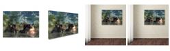 "Trademark Global Daniel Eskridge 'Hippos Coming To Get You' Canvas Art - 24"" x 18"" x 2"""