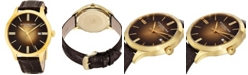 """Stuhrling Stainless Steel Gold Tone Case on Brown Alligator Embossed Genuine Leather Strap, Gold Tone """"Burnt"""" Center Dial, with Gold Tone Accents"""