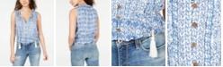 American Rag Juniors' Printed Pintucked Peasant Top, Created for Macy's
