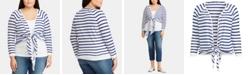Lauren Ralph Lauren Plus Size Striped Open-Front Sweater