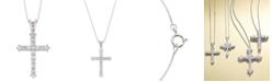 Macy's Diamond Cross Pendant Necklace in 14k White Gold (1/2 ct. t.w.)
