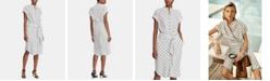 Lauren Ralph Lauren Petite Striped Crepe Shirtdress